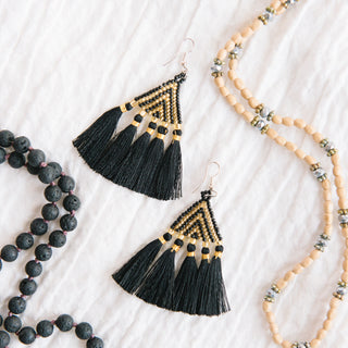 Black Fringe Triangle Earrings