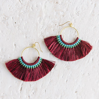 Maroon Fringe Earrings