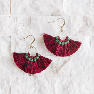 Grey Fringe Fan Earrings