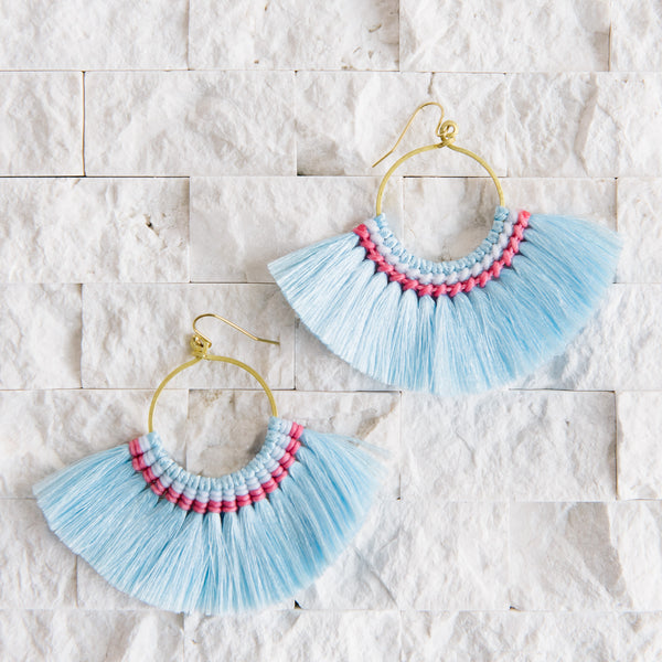Blue Fringe Earrings