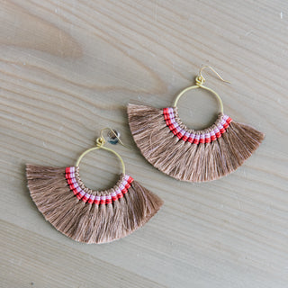 Beige Fringe Earrings