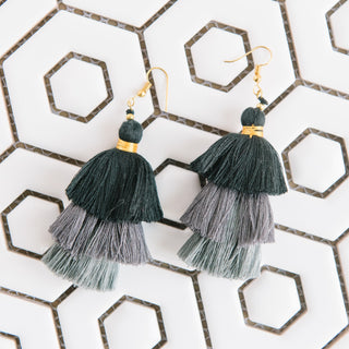 Black And Grey Tiered Earrings