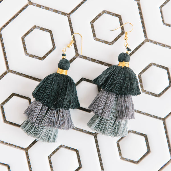 Black And Gray Tiered Earrings