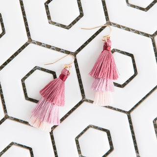 Pink Tiered Earrings