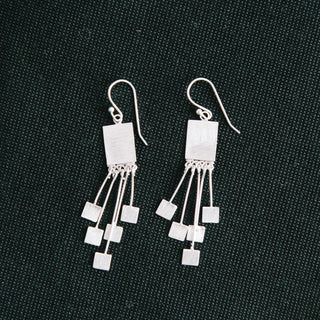 925 Silver Rectangle Earrings