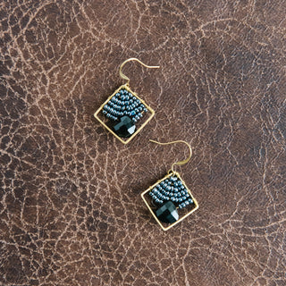 Small Beaded Diamond Earrings