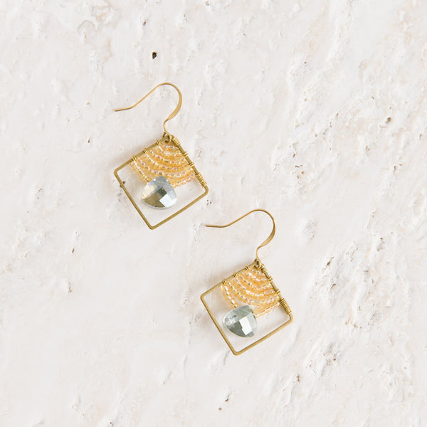 Mint Green Beaded Diamond Earrings