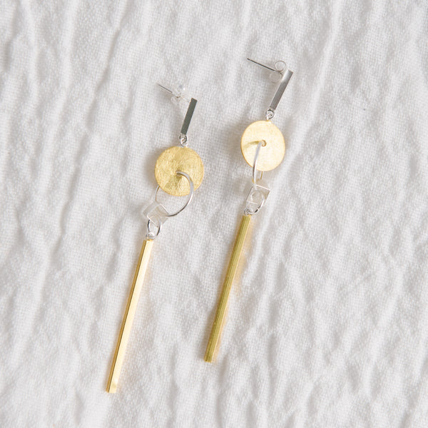 Silver And Gold Geometric Earrings