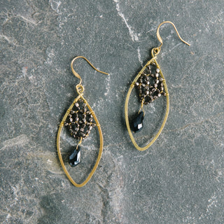 Diamond Earrings With Black Hanging Bead