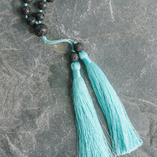 Double Blue Tassel Black Volcano Necklace