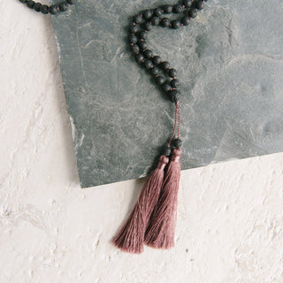 Double Dusty Rose Tassel Black Volcano Necklace