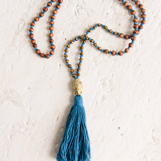 Big Head Buddha Blue Tassel Necklace