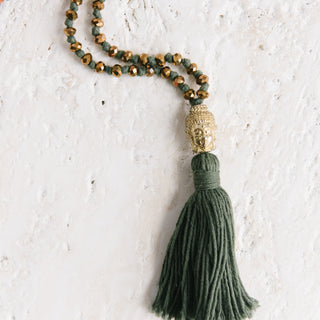Big Head Buddha Green Tassel Neckalce
