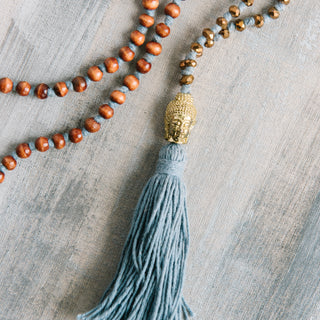 Big Head Buddha Gray Tassel Necklace
