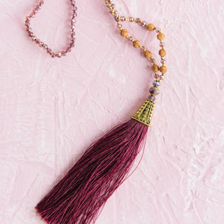 Rudraksha Seed And Crystal Beaded Tassel Necklace