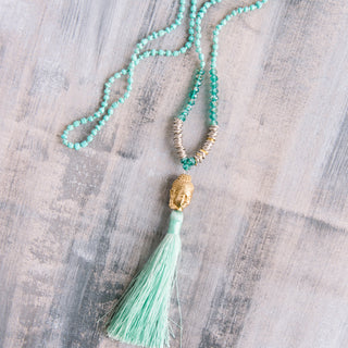 Sea Foam Green Big Buddhe Tassel Necklace