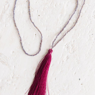 Purple Beaded Tassel Necklace