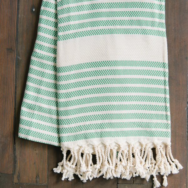 Green And White Stripe Turkish Towel