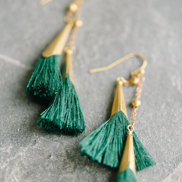 Double Green Fringe Earrings