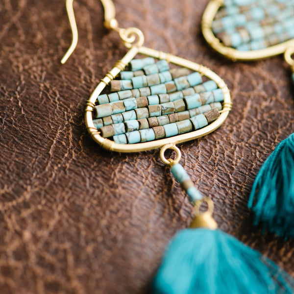 Turquoise Beaded Fringe Earrings