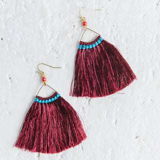 Wide Triangle Fringe Earrings in Maroon
