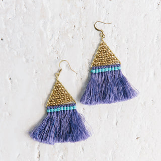 Purple Triangle Fringe Earrings