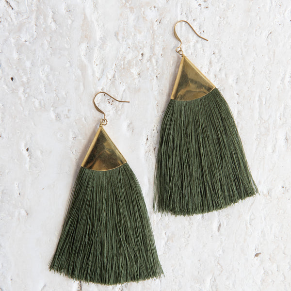 Brass Triangle Fringe Earrings In Green