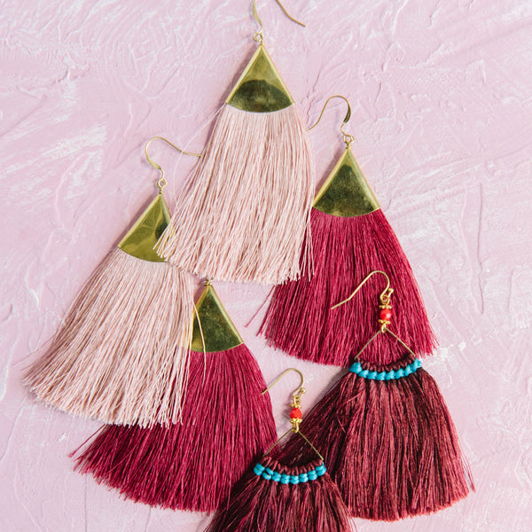 Brass Triangle Fringe Earrings in Maroon