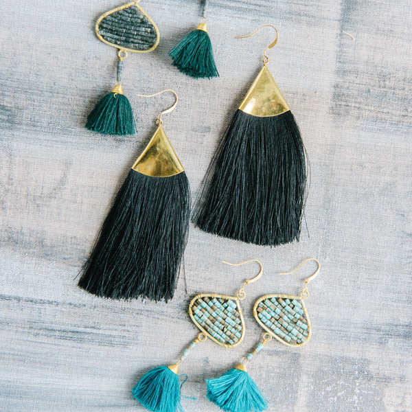 Brass Triangle Fringe Earrings in Black