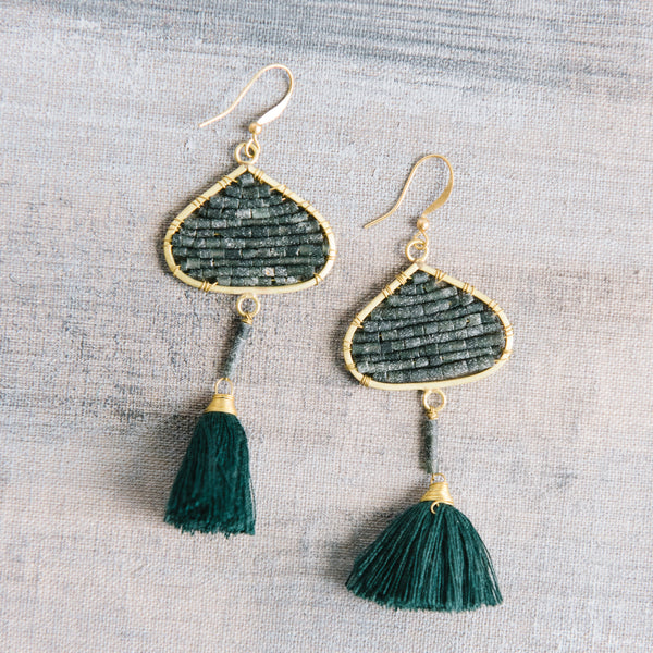 Black Beaded And Green Fringe Earrings
