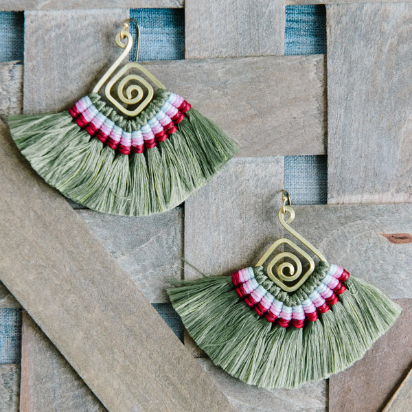 Half Diamond Fringe Earrings