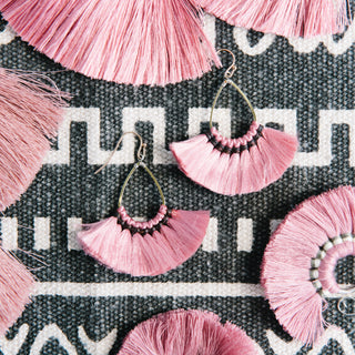 Pink Oval Fringe Earrings