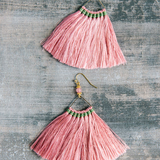 Wide Triangle Fringe Earrings in Pink