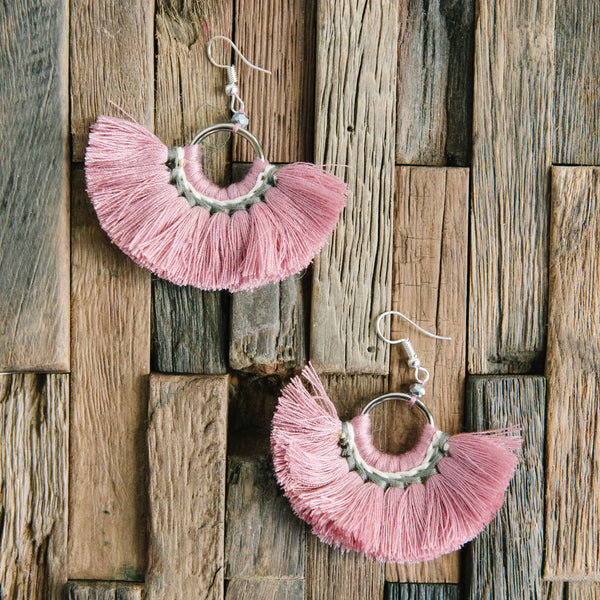 Round Pink Fringe Earrings