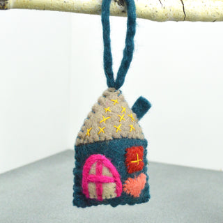 Felted Blue House Ornament