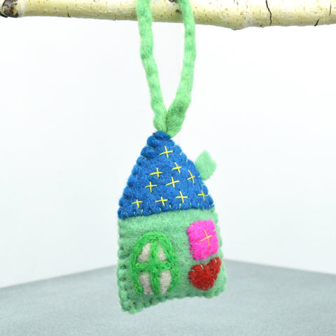 Felted Green House Ornament