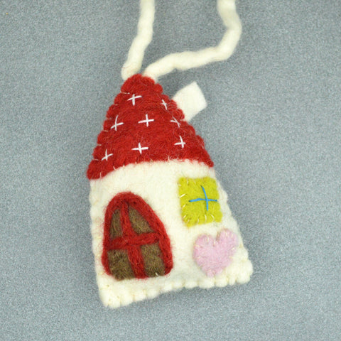 Felted White House Ornament