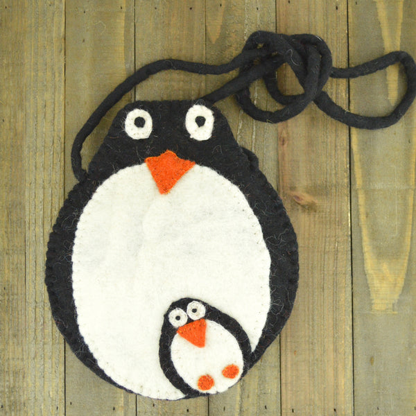 Felted Penguin And Baby Bag, penguin bag, velcro bag, baby bag, felt bag, felt penguin, handcrafted penguin bag