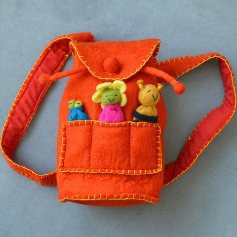 Orange Finger Puppet Bag