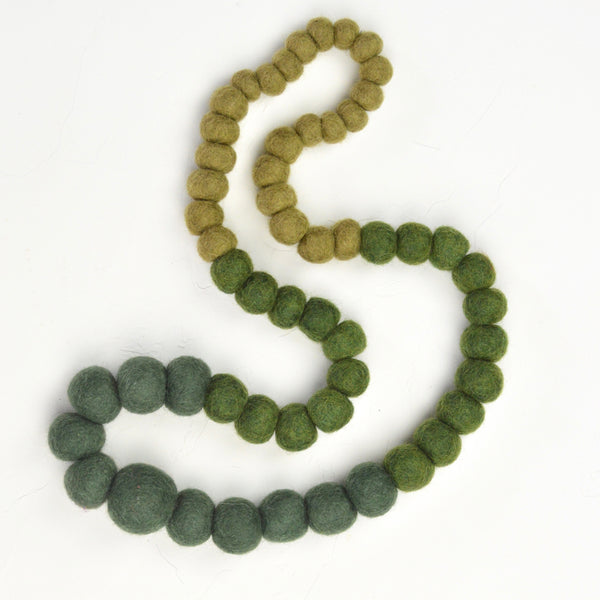 Felt Ball Necklace, Green felt Green Necklace, overhead necklace, lightweight necklace, lightweight jewelry, felt jewelry