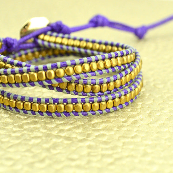 Purple, Green and Gold Triple Wrap Bracelet
