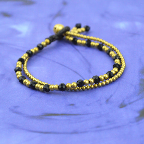 Gold and Black Double Strand Bracelet, gold bracelet, black bracelet, bell closure, jade/silver, purple/silver and amber/gold