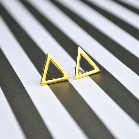 18k Plated triangle earrings, gold plated earrings, hand-crafted jewelry, lightweight earrings, post back earrings
