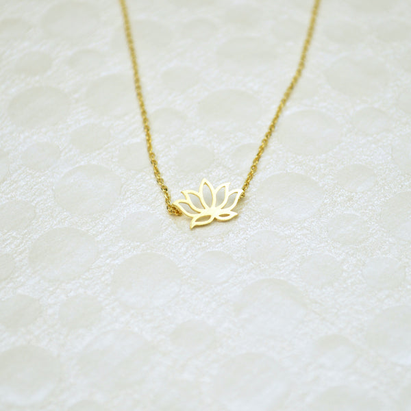 Gold Lotus Necklace, lotus, gold necklace, gold lotus, lotus charm, charm necklace, gold chain, handmade lotus