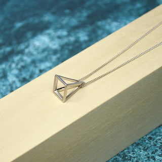 Long Silver Triangle Necklace
