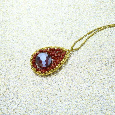 Red and Brass Beaded Pendant Necklace