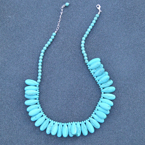 Turquoise Oval Bead Necklace