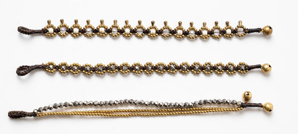 Silver Crystal And Brass Triple Strand Bracelet