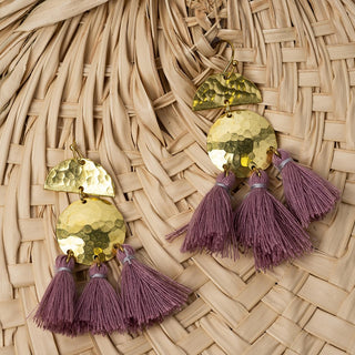 Hammered Brass And Mauve Three Fringe Earrings