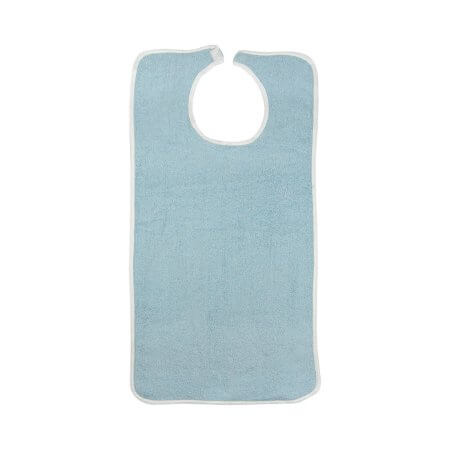 Beck's Classic Terry Cloth Bibs, White or Blue, Hook and Loop Closure